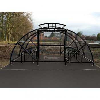 Boscastle Compound Cycle Shelter 20 Bikes with Secure Gate, Black