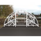 Boscastle Compound Cycle Shelter 20 Bikes with Secure Gate, White
