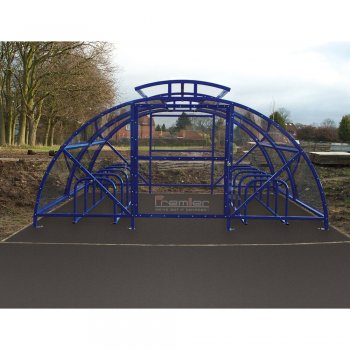 Boscastle Compound Cycle Shelter 28 Bikes with Secure Gate, Marine Blue