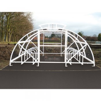 Boscastle Compound Cycle Shelter 28 Bikes with Secure Gate, White