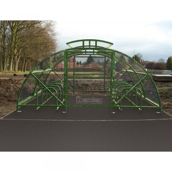 Boscastle Compound Cycle Shelter 40 Bikes with Secure Gate, Green