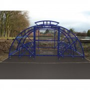 Boscastle Compound Cycle Shelter 48 Bikes with Secure Gate, Marine Blue
