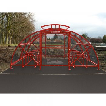Boscastle Compound Cycle Shelter 48 Bikes with Secure Gate, Red