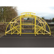 Boscastle Compound Cycle Shelter 48 Bikes with Secure Gate, Yellow