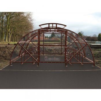 Boscastle Compound Cycle Shelter 60 Bikes with Secure Gate, Brown