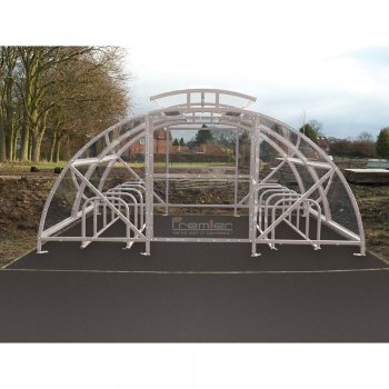 Boscastle Compound Cycle Shelter 60 Bikes with Secure Gate, Grey