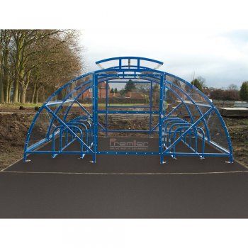 Boscastle Compound Cycle Shelter 60 Bikes with Secure Gate, Sky Blue