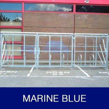 Harlyn 10 Bike Shelter with Secure Gates, Marine Blue