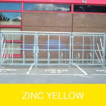 Harlyn 14 Bike Shelter with Secure Gates, Zinc Yellow