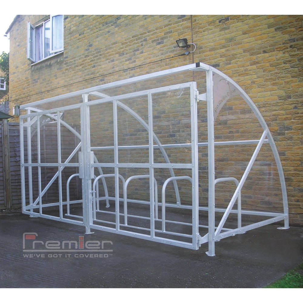 Secure Bike Shelters : Harlyn bike shelter with secure gates galvanised only