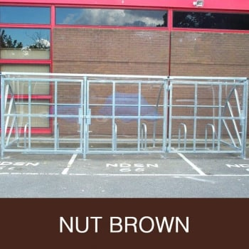 Harlyn 20 Bike Shelter with Secure Gates, Nut Brown
