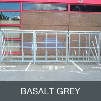 Harlyn 24 Bike Shelter with Secure Gates, Basalt Grey