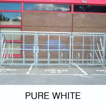 Harlyn 24 Bike Shelter with Secure Gates, Pure White