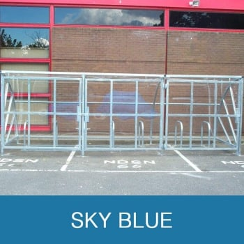 Harlyn 24 Bike Shelter with Secure Gates, Sky Blue