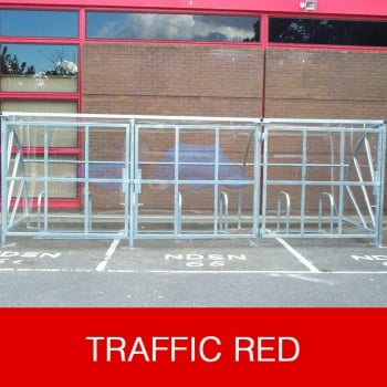 Harlyn 24 Bike Shelter with Secure Gates, Traffic Red