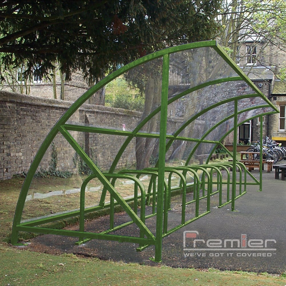 Hard Covered Bike Shelters : Harlyn bike shelter green from premier storage