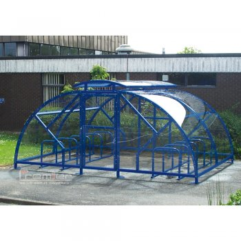 Salisbury Compound 20 Bike Shelter with Lockable Gate, Marine Blue