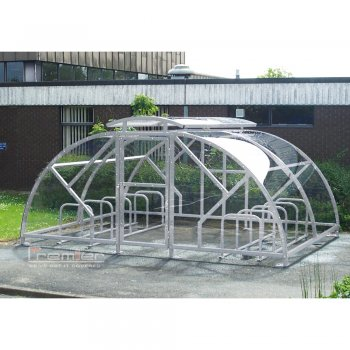Salisbury Compound 28 Bike Shelter with Lockable Gate, Galvanised only