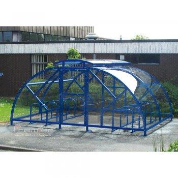 Salisbury Compound 28 Bike Shelter with Lockable Gate, Marine Blue