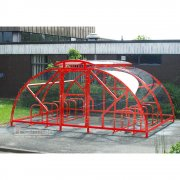 Salisbury Compound 28 Bike Shelter with Lockable Gate, Red