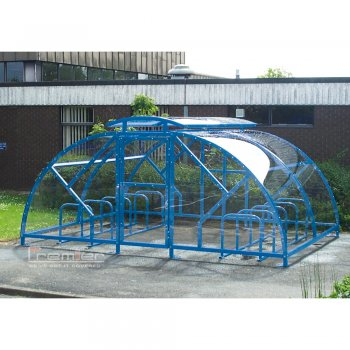 Salisbury Compound 28 Bike Shelter with Lockable Gate, Sky Blue