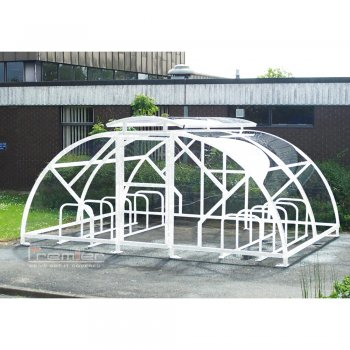 Salisbury Compound 40 Bike Shelter with Lockable Gate, White