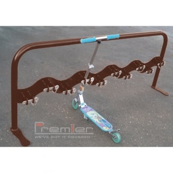 Scooter Rack for 10 Scooters, Nut Brown