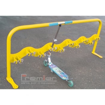 Scooter Rack for 10 Scooters, Zinc Yellow