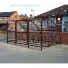 Sennen 10 Bike Shelter with Secure Gates, Brown