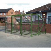 Sennen 10 Bike Shelter with Secure Gates, Green
