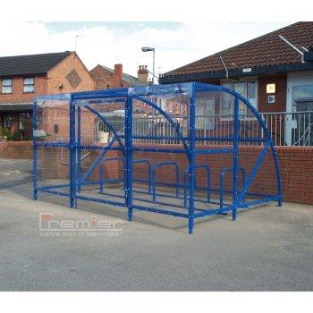 Sennen 10 Bike Shelter with Secure Gates, Marine Blue