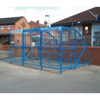 Sennen 10 Bike Shelter with Secure Gates, Sky Blue