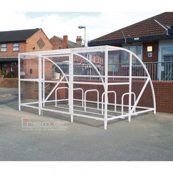 Sennen 10 Bike Shelter with Secure Gates, White