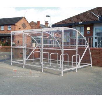 Sennen 14 Bike Shelter with Secure Gates, Grey