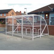 Sennen 14 Bike Shelter with Secure Gates, Grey
