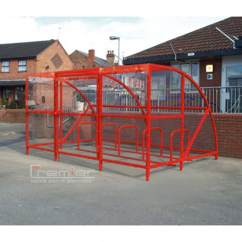 Sennen 14 Bike Shelter with Secure Gates, Red