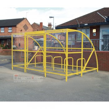Sennen 14 Bike Shelter with Secure Gates, Yellow