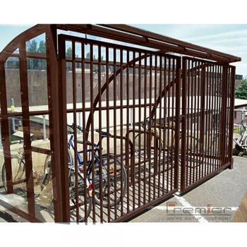 St Ives 10 Bike Shelter with Sliding Gates, Brown