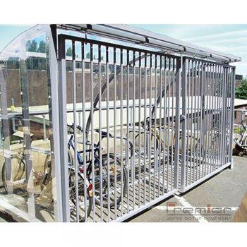 St Ives 10 Bike Shelter with Sliding Gates, Galvanised only