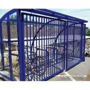 St Ives 10 Bike Shelter with Sliding Gates, Marine Blue
