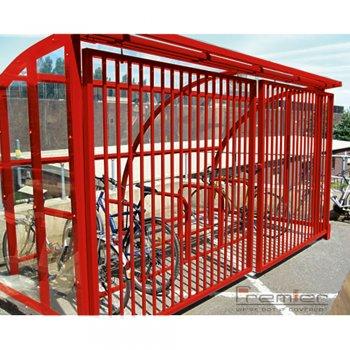 St Ives 10 Bike Shelter with Sliding Gates, Red