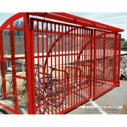 St Ives 10 Bike Shelter with Sliding Gates, Red
