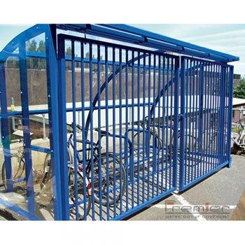 St Ives 10 Bike Shelter with Sliding Gates, Sky Blue