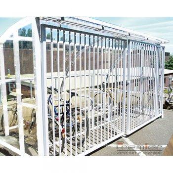 St Ives 10 Bike Shelter with Sliding Gates, White
