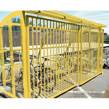 St Ives 10 Bike Shelter with Sliding Gates, Yellow