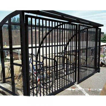 St Ives 14 Bike Shelter with Sliding Gates, Black