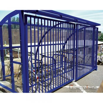 St Ives 20 Bike Shelter with Sliding Gates, Marine Blue
