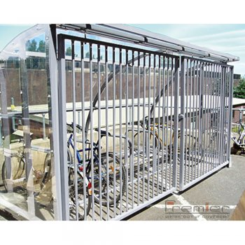 St Ives 30 Bike Shelter with Sliding Gates, Galvanised only