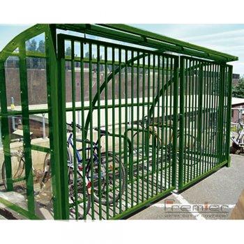 St Ives 30 Bike Shelter with Sliding Gates, Green
