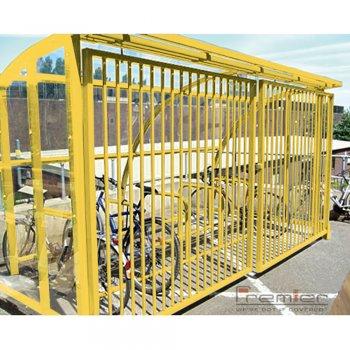 St Ives 30 Bike Shelter with Sliding Gates, Yellow